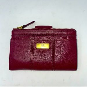 Fossil Wallet Leather Burgundy